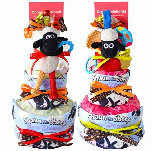ひつじのショーン おむつケーキ 女の子 男の子 出産祝い 人気 かわいい 名入れ パンパース (P, パンパースS)
