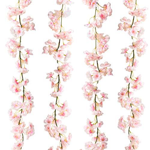 Omldggr 4 Packs Artificial Cherry Blossom Garland Artificial Silk Cherry Blossom Hanging Vine Garland for Wedding Home Garden Party Decoration(Pink)