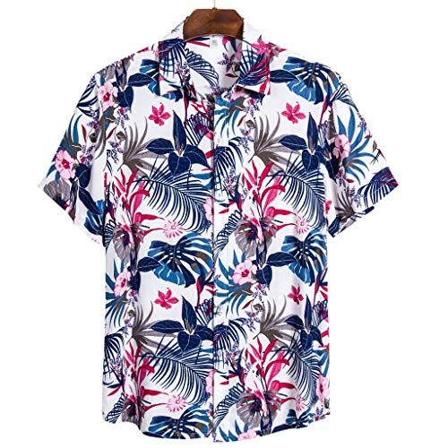 Check Out This Mlide Funky Hawaiian Shirt Soft Cotton Shortsleeve Work Casual Shirt,Blue,XXXL