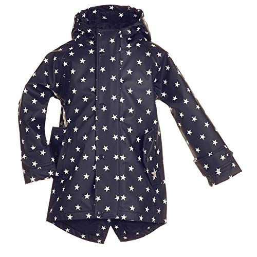 BMS Kinder Regenmantel - 100% wasserdicht - Marine mit weissen Sternen - 134