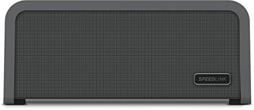 Speedlink Portajoy - Stereo Bluetooth-Lautsprecher (10 Watt Leistung, Indoor und Outdoor geeignet durch Tragegriff, NFC, bis zu 25 St&en Akkulaufzeit) grau