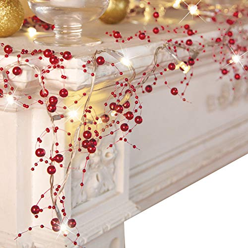 VERY100 Cordless Lighted Berry Beaded Holiday Christmas Decorations Garland 2.5m (red)