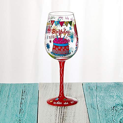 G.TZ-Wine Glass Copas De Vino En Caja De Regalo Copas De Vino De Cumpleaños, Copas Pintadas A Mano Excepcionales para Cumpleaños, 22.5X6.6 cm/Pintado A Mano 7