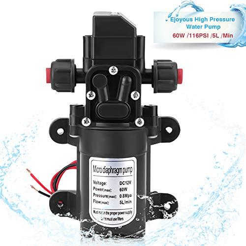 Hochdruck Wasserpumpe, 12V 60W Druckpumpe Hohe Druck Selbstansaugend Membran Wasserpumpe 5L/Min Hohe Druck selbstansaugend Membran Wasserpumpe für Gartensprinklern Wasserhähnen Wohnwagen