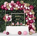 129Pcs Burgundy Pink Balloons Garland Arch Kit,...