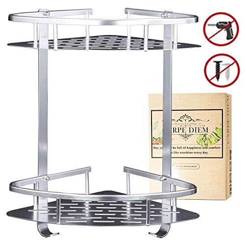 Carpe Diem Coner Shower Caddy(No Drlling) Shower Organizer Durable Aluminum 2 Tiers Shower Rack Adhesive Suction Shower Shelf