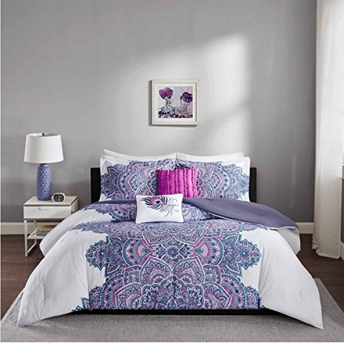 4 Piece Vibrant Floral Medallion Design Comforter Set Twin/Twin XL Size, Featuring Eye Catching Flower Solid Reverse Bedding, Peacock Feather Pillow, Stylish Chic Modern Bedroom, Purple, White, Multi