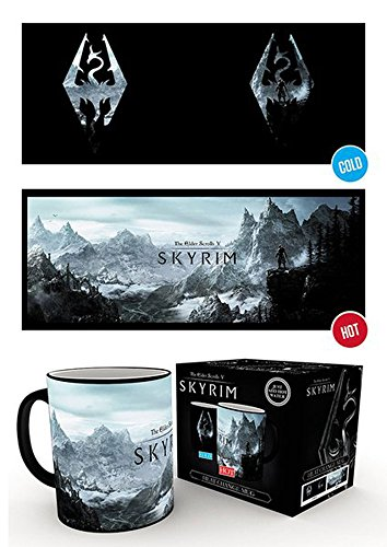 empireposter Skyrim - Dragon Symbol - Thermoeffekt Tasse - Größe Ø8,5 H9,5cm