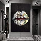Dinero en la Boca Inspirational Canvas Art Posters and Prints Labios Graffiti Art Canvas Pinturas Wall Street Art Pictures-50x70cm Sin Marco
