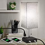 USB Bedside Table Lamp, MOICO Stylish Nightstand Lamp with 2 USB Charging Port and one AC Outlet, Modern Desk Lamp with Grey Linen Fabric Shade for Bedroom, Living Room, Kids Room, Dorm, Office
