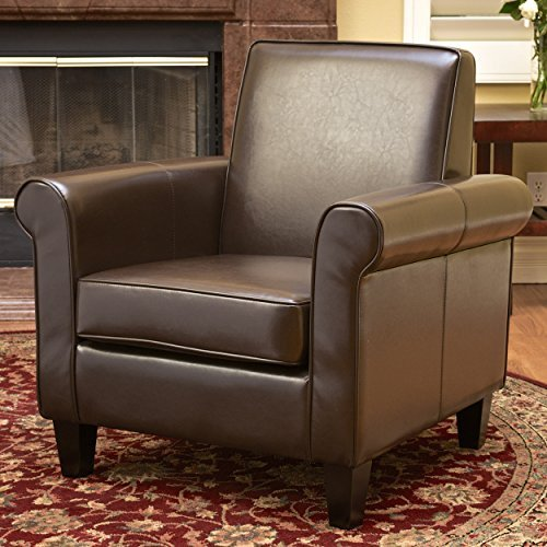 Christopher Knight Home Freemont Leather Club Chair, Chocolate Brown