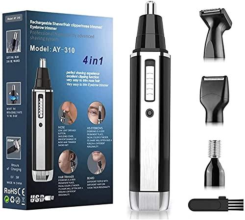Nasenhaartrimmer und Nasenhaarschneider Herren-Nasentrimmer USB 4 in 1 Set,Schmerzloser Nasenhaarentferner und Nasen und Ohrenhaartrimmer ,Leicht Zu Reinigen und IPX7 Wasserdichte Doppelklingen