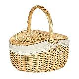 ODOORACT Cesta de pícnic ovalada de Wicker, cesta de pícnic, cesta de pícnic, cesta de pícnic, vacía con forro interior, 35 x 24 x 29 cm, para picnic, excursiones o camping
