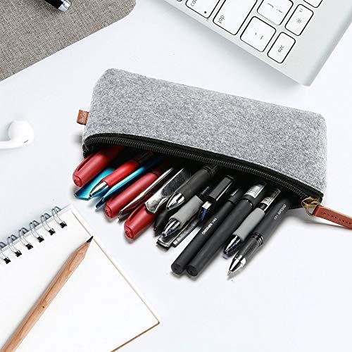 ACHICOO Filz-Federmäppchen mit Reißverschluss, Stifttasche mit Griff, für Studenten, Schule, Schreibwaren Brown handle hellgrau