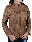 Urban Leather Corto Biker - Chaqueta de piel, Mujer, marrón, xxx-large