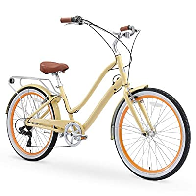 "sixthreezero EVRYjourney Women's 26"" 7-Speed Step-Through Touring Hybrid Bike w/Integrated Cable Lock, 26"" Bicycle, Cream with Brown Seat and Brown Grips"