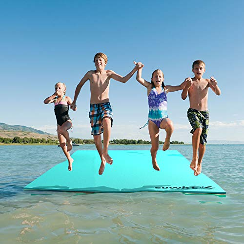 SOWKT Newest Model 18 x 6 Feet Floating Water Pad - Floating Island for Lakes or Pools - Giant Lily Pad Holds up to 8 Adults or 20 Kids. Unlimited Fun! (Green/Black/Yellow)