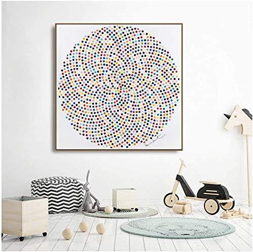 Surfilter-Druck auf Leinwand Kreismalerei enthalten viele Bunte Punkte Bilder Gedruckte Leinwandmalerei Wandkunst für Wohnzimmer 23.6& rdquo; x23.6ABC 22 rdquo; (60x60cm) Kein Rahmen 1