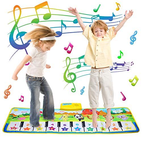EKKONG Klaviermatte, Musikmatte Kinder Tanzmatten Baby Tanzmatte mit 8 Instrumenten Piano Mat Keyboard Matten Spielteppich für Jungen Mädchen