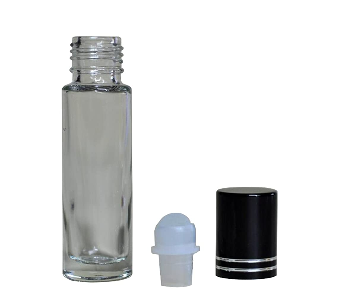 3PCS 0.5oz Empty Refillable Transparent Glass Roller Roll-on Bottle Jars with Glass Roller Balls and Black Lid Essential Oil Perfume Aromatherapy Vial Pot Storage Container (15ml)
