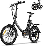 KGK 20'' Folding Electric Bike for Adults Teens Adjustable Height 350W Electric Commuter Bicycle for Women Men Adult Electric Mountain Bike Throttle & Pedal Assist Electric Road Touring Hybrid Ebike