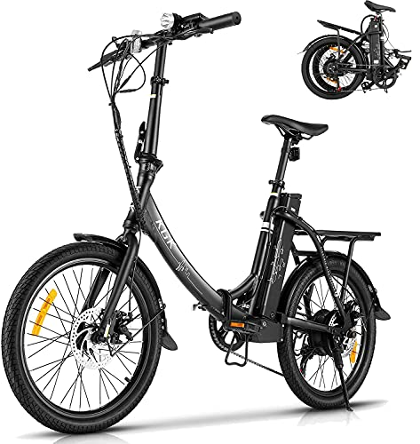 KGK 20'' Adult Folding Electric Bike Adjustable Height 350W Electric Mountain Bike Electric Bicycle for Adults, 20MPH Adults Ebike Throttle & Pedal Assist Moped City Commuter Bicycle,Shimano 7 Speed