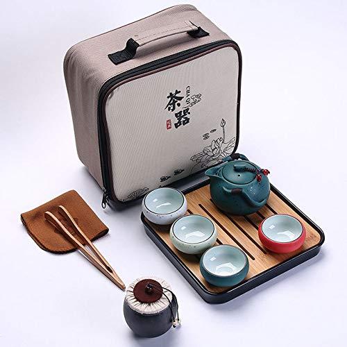 LJQLXJ Juego de té Juego de té de viaje de 6 piezas, taza de porcelana de doble pared, tetera creativa de dragón con flores, juego de té de Kung Fu, vajilla, C, marrón