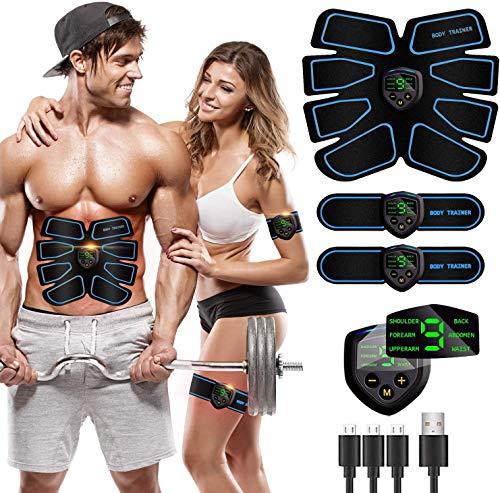 MATEHOM Electroestimulador Muscular, Abdominales Electroestimulacion,USB Recargable EMS Estimulador Muscular Abdominales, para Abdomen/Cintura/Pierna/Brazo