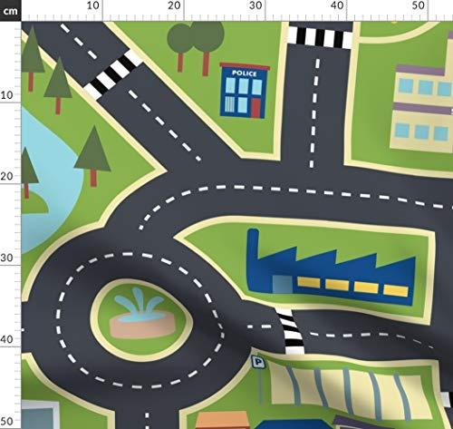 Kinderzimmer, Landkarte, Stadt, Bauernhof, Straßen Stoffe - Individuell Bedruckt von Spoonflower - Design von Seesawboomerang Gedruckt auf Baumwollstoff Klassik