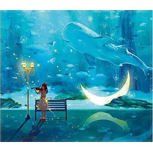 FEILISI 500 Teile Schwieriges Puzzle für Erwachsene, Kleines Mädchen, das Geige spielt, Keine Farb oder Druckfehler, Lernspiel Stressabbau Puzzle für Kinder Blau