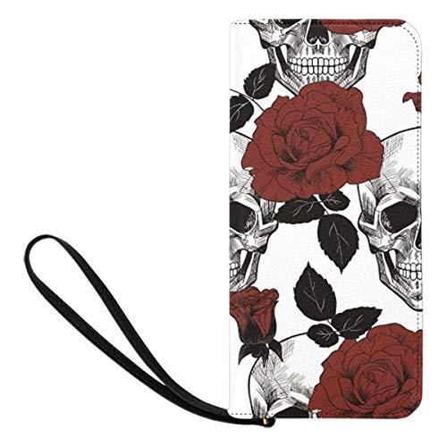 InterestPrint Sugar Skull and Red Roses Women's Zip Wallet Ladies Clutch Travel Purse Wrist Strap