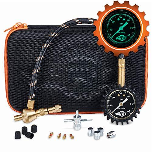 Rapid Air Down Tire Deflator Offroad Kit, PSI Tire Pressure Gauge [Glows in Dark] & Custom Foam Case + Chrome Caps & Valve Core Repair Tool | Quickly Deflate 4x4 Off Road Tires on Truck, ATV,