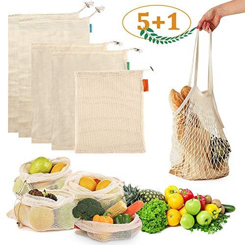 6 Pezzi Sacchetti Riutilizzabili Ortofrutta Kit, Rete di Cotone Naturale Biodegradabile, Lavabili in Lavatrice, Borsa Spesa per i Capretti Uomini Donna