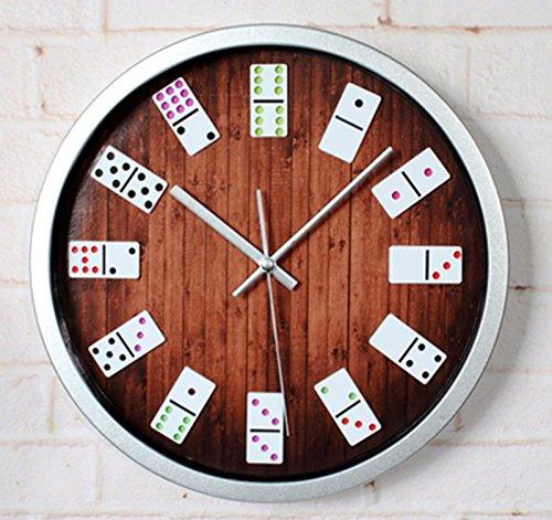 horloge murale CivilWeaEU- Entertainment Mahjong 3D Réel Trois - Dimensional Fashion Creative Salon Horloge De Mur Quartz Horloge Silencieux (Couleur : Border Argent)