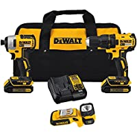 Dewalt 20-Volt MAX Lithium-Ion Cordless Brushless Drill/Driver & Light Combo Kit (3-Tool) with TWO 1.3Ah Batteries, Charger & Bag