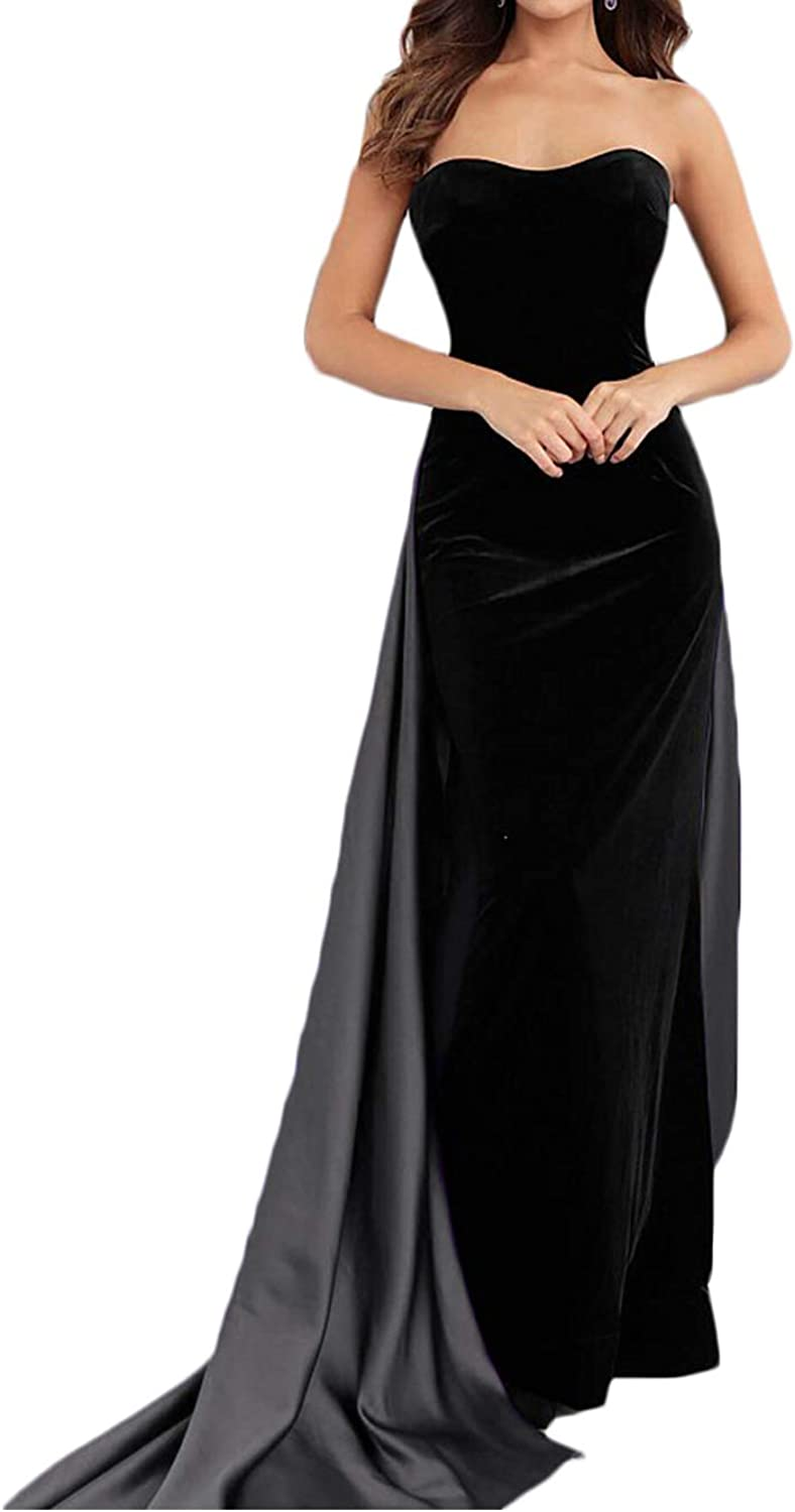 Alilith.Z Sexy Strapless Velvet Prom Dresses Long Mermaid Party Gowns Formal Evening Dresses for Women with Satin Overskirt