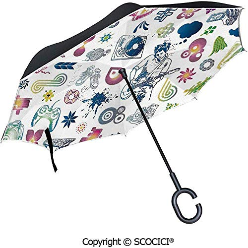 Auto Open Inverted Umbrella Antlers mit frischen grünen Sukkulenten Kaktus Pflanze Federblätter Regenschirm mit C-förmigen Griff verziert