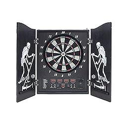 wolketon Electronic dart board Dartboard 4 LED displays Dart game foldable Cupboard Dart machine 27 games and 243 variants for home bar game