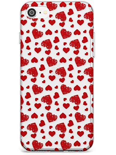 Modelo Del Corazón Bosquejado Estuche delgado para iPhone 7 Plus, for iPhone 8 Plus   Claro Silicona TPU Protector Ligero Ultra Thin Cubrir Patrón Impreso   Patrón Amor Valentín Rojo Transparente