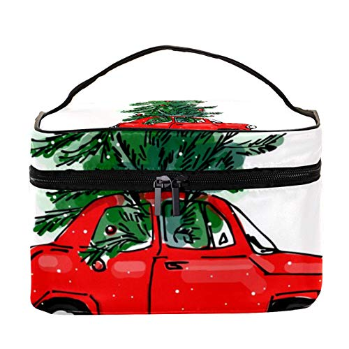 Cosmetic Bag for Women,Roomy Makeup Bags,Red Car Christmas Tree,Travel Waterproof Toiletry Bag Accessories Organizer