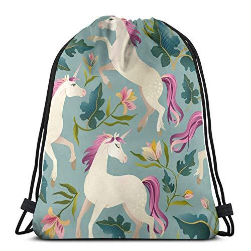 Lsjuee White Horse in FlowersDrawstring Backpack Sports Fitness Backpack Waterproof Men's and Women's Waist Bag Travel Yoga Beach School