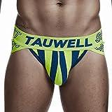 XXL ライムグリーンネイビー ノンブランド TAUWELL/タオウエール ツートンストライプ スポーティ サイドカット ブリーフ ビキニブリーフ 男性下着 メンズ パンツ