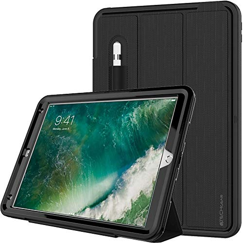 TECHGEAR D-FENCE Case fits Apple iPad Air 3 2019, iPad Pro 10.5', Shockproof Tough Rugged Protective Armour Smart Case with Detachable Screen Cover/Stand - Kids Schools Builders Workman Case, Black