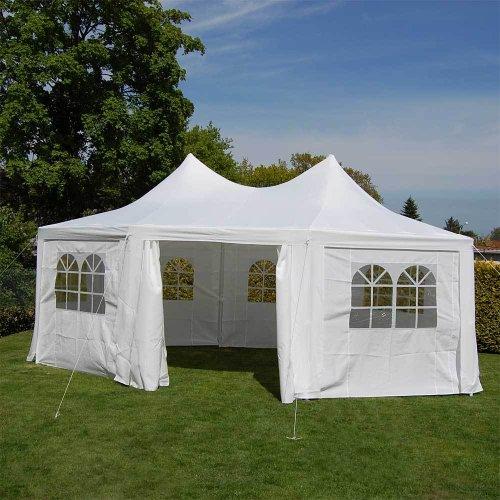 Nexos DELUXE Zelt hochwertiges Festzelt Pavillon 6x4,4x3,3 m creme mit Seitenteilen für Garten Terrasse wasserdicht PE Dach 260 g/m² mit PVC-coating 8-eckig