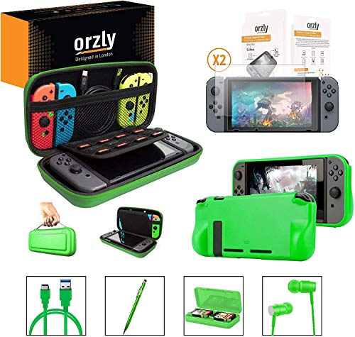 Switch Accesoires, Orzly Zubehör für Nintendo Switch (Panzerglas Schutzfolien, USB Ladekabel, Konsole Tragetasche, Spiele Patronenhülse, Comfort Grip Case, Kopfhörer) GRÜN