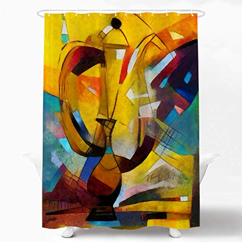 Shrahala Abstract Modern Art Pastel Decorative Shower Curtain, Alternative Reproductions of Famous Paintings by Picasso Applied Shower Curtain for Bathroom Waterproof Shower Curtain 72x72 Inch