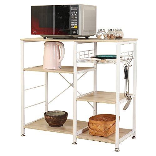 DlandHome W5S-MO Mikrowellen-Ständer 89,9 cm Küche Utility Aufbewahrung 3 Etagen + 3 Etagen für Bäckerregal & Gewürzregal Organizer Workstation Regal Ahorn