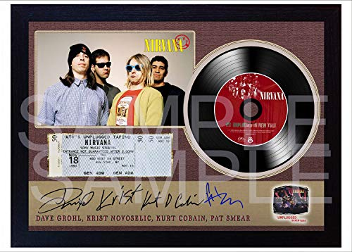 SGH SERVICES NEW! Nirvana Unplugged In New York Kurt Cobain Krist SIGNED Autographed FRAMED PHOTO Mini LP Vinyl Record