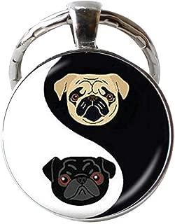 Yin Yang Pug Keychain,Black and Tan Bulldog Keychain,Dog Jewelry Gifts, for Pug Lovers Rescue