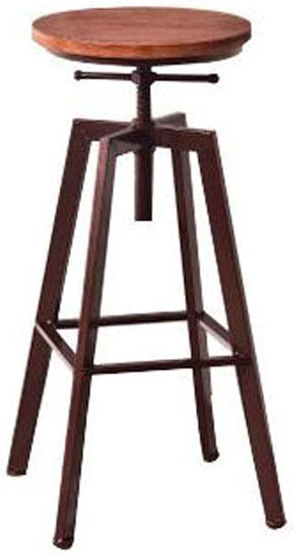 Bar Stools, 1PCS Bar Stool Footrest Round Wooden Seat Kitchen Breakfast Pub Counter (color   B)